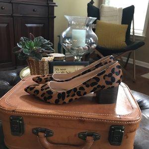 Sole Society calf hair leopard day heels